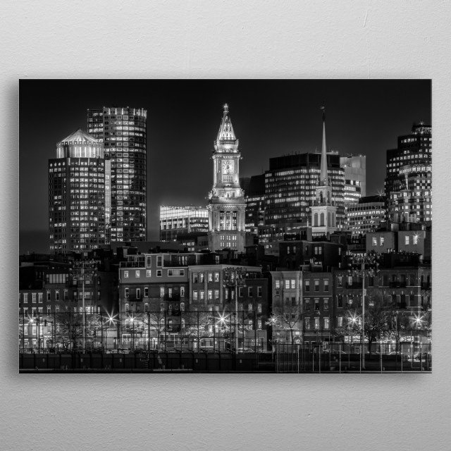 BOSTON Evening Skyline of North End & Financial District | Monochrome metal poster