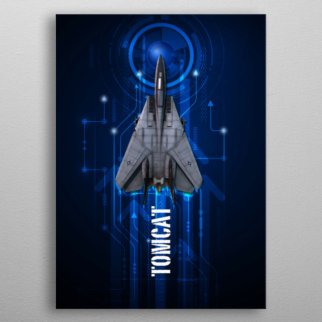 US Navy F14 Tomcat digital aviation art metal poster