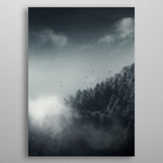 Misty Mountain Forest metal poster