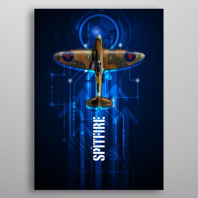 Supermarine Spitfire digital aviation art metal poster