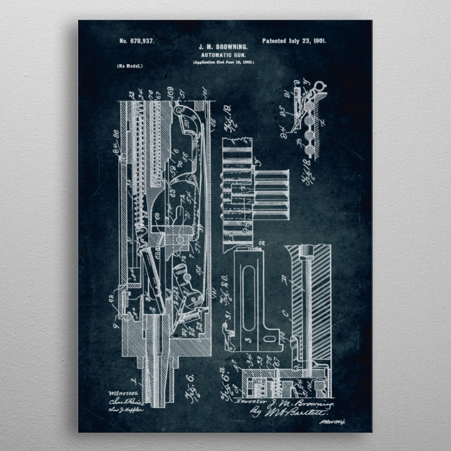 No135 - 1900 - Automatic gun - Inventor J. M. Browning metal poster