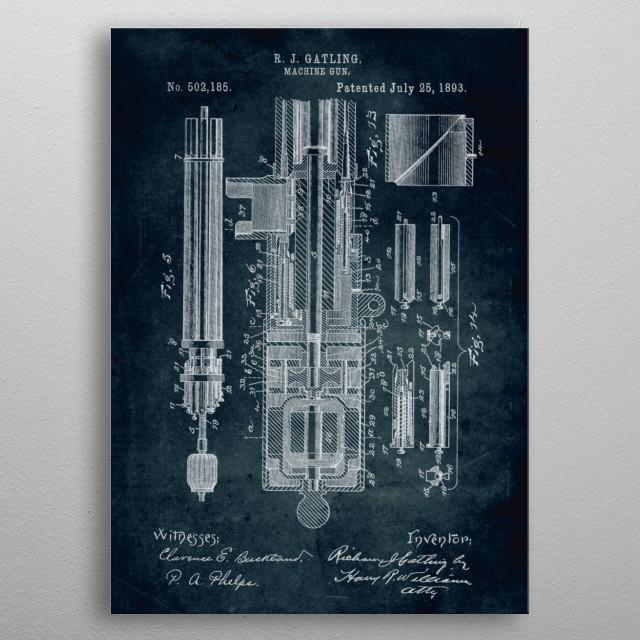 No137 - 1893 - Machine gun - Inventor R. J. Gatling metal poster