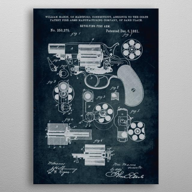 No129 - 1881 - Revolving fire arm (Colts patent) - Inventor William Mason  metal poster