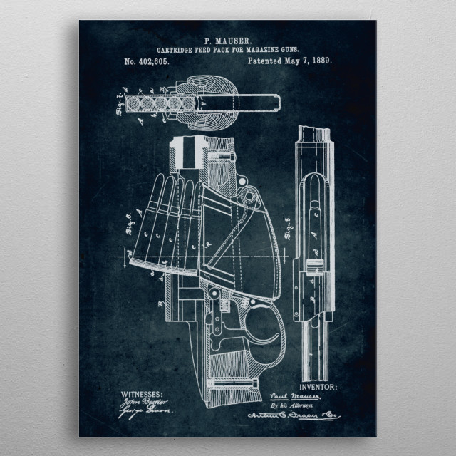 No141 - 1889 - Cartridge feed pack for magazine guns - Inventor P. Mauser metal poster