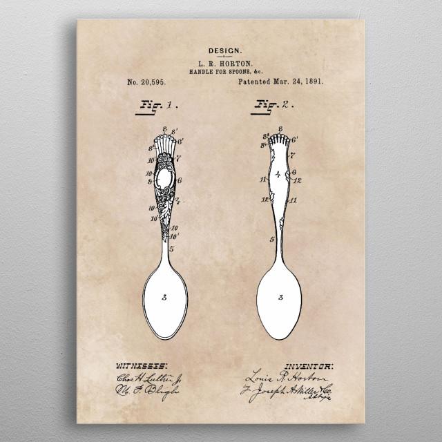 patent art Horton Handle for spoons 1891 metal poster