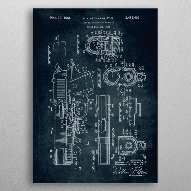 No153 - 1966 - Gun slide guilding devices - Inventors Frank A. Pachmayr & Edward B. Miller metal poster