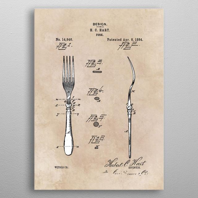patent art Hart Fork 1884 metal poster