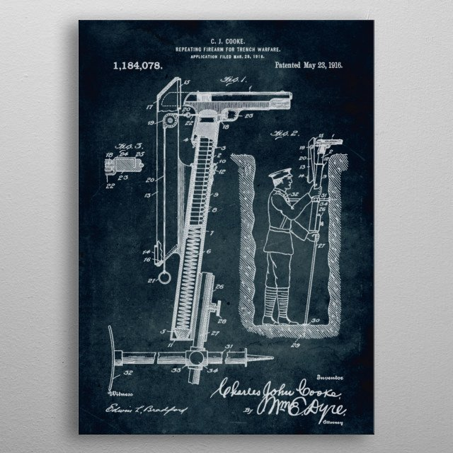 No150 - 1916 - Repeating firearm for trench warfare - Inventor C. J. Cooke metal poster
