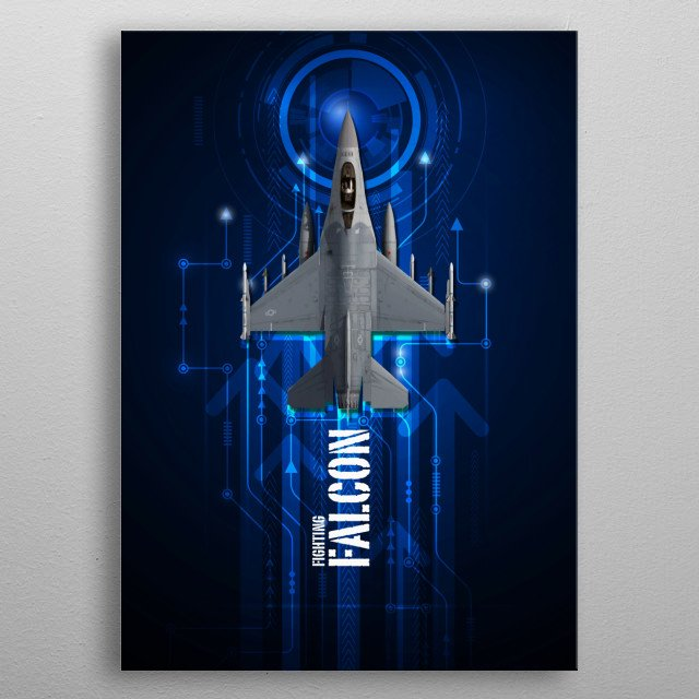 US Air Force F-16 Fighting Falcon digital aviation artwork metal poster