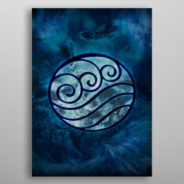 Avatar Symbol Water Element + Texture metal poster