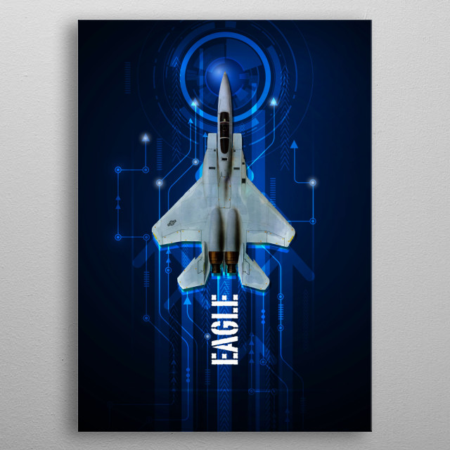 US Air Force F-15 Eagle digital aviation artwork metal poster