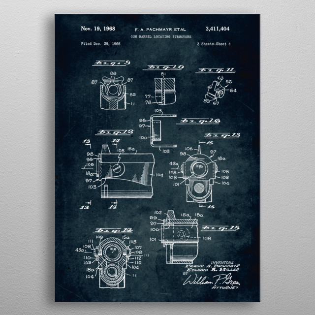 No148 - 1966 - Gun barrel locating structure - Inventors Frank A. Pachmayr & Edward B. Miller metal poster