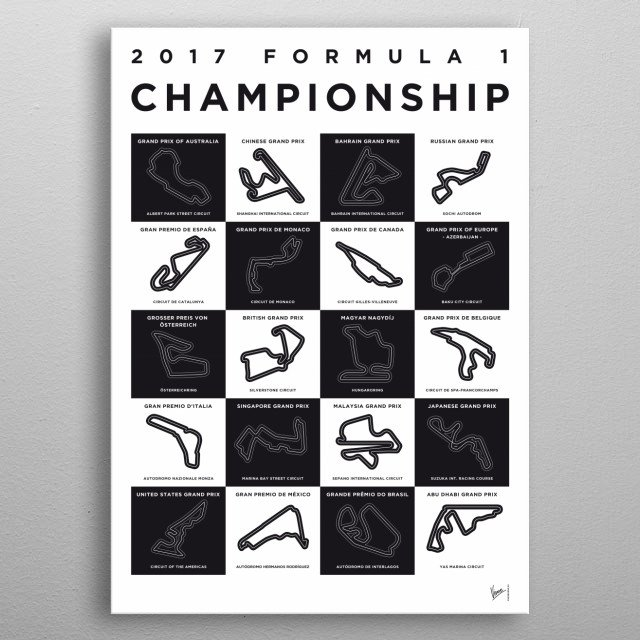Awesome Minimalist Formula One Posters by   This stunning collection of minimalist Formula 1 posters is the work of Chungkong, a talented artist based out of Amsterdam who has fast become a favorite with fans of international motorsport.  Chungkong collection is currently lists 21 Formula 1 posters for sale covering every race on the calendar. metal poster