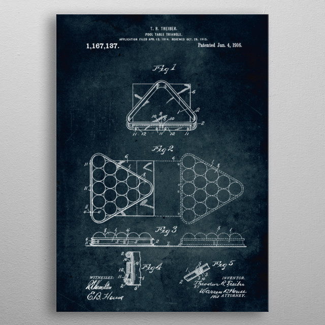 No177 - 1914 - Pool table triangle - Inventor T. R. Treiber metal poster