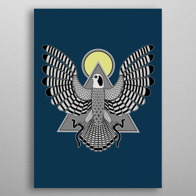 The Falcon, Horus, is the God of the Sky and soars above all the land and its inhabitants. He is a  symbol of divine Kingship and is also considered as the God of the rising Sun.  metal poster