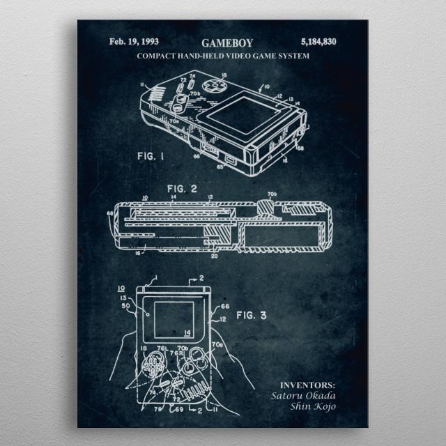 No201 - 1993 - Compact hand-held video game system (Gameboy) - Inventors Satory Okada & Shin Kojo metal poster