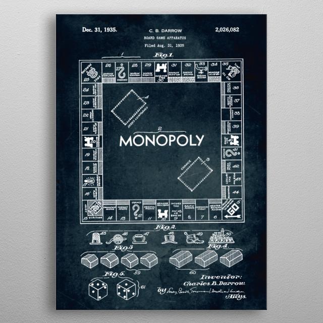 No196 - 1935 - Board game apparatus (Monopoly) - Inventor C. B. Darrow metal poster