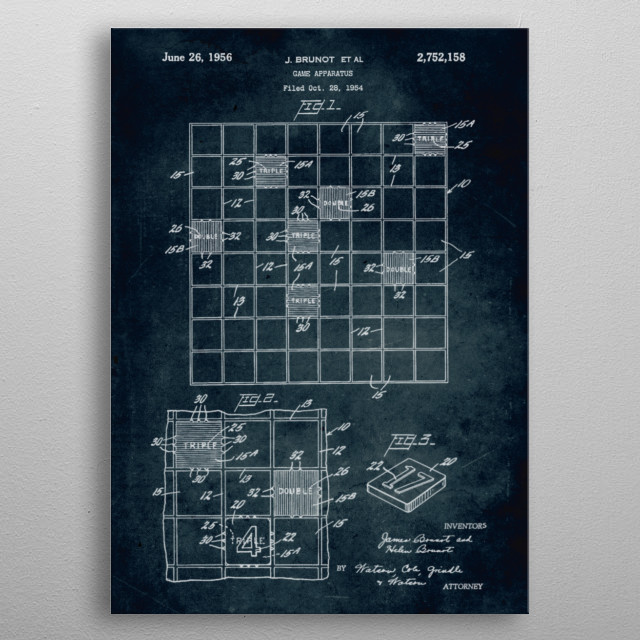 No195 - 1956 - Game apparatus (Scrabble) - Inventors J. Brunot & H. Brunot metal poster