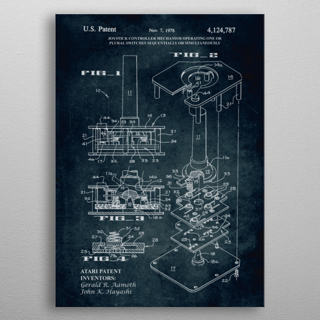 No203 - 1978 - Joystick controller mechanism operating one or plural switches sequentially or simultaneously (Atari patent) - Gerald R. Aamot... metal poster