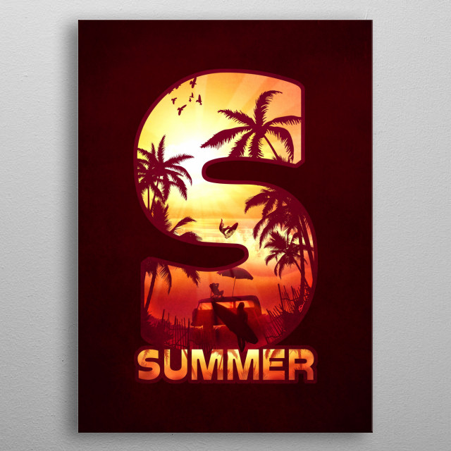 S for Summer metal poster