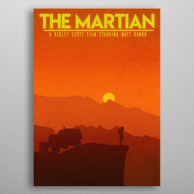 Fan art for the movie The Martian metal poster