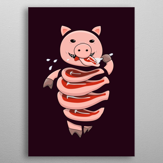 Vector illustration of a gluttonous pig cannibal who eats itself as it is cut into steaks. Self explanatory as it seems, this image is not ex... metal poster