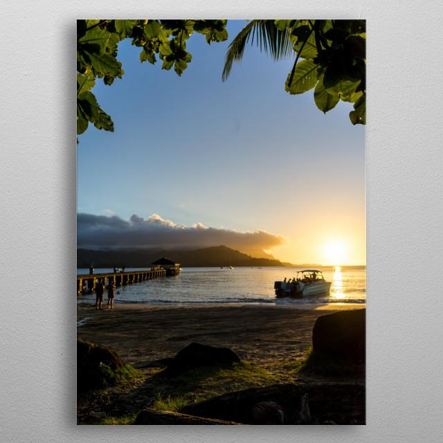 Sunset at Hanalei Bay metal poster