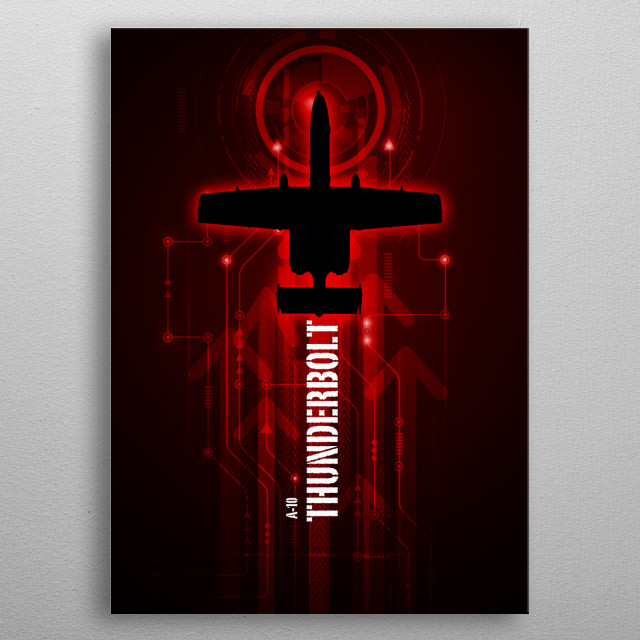 The A-10 Thunderbolt digital aviation art work metal poster