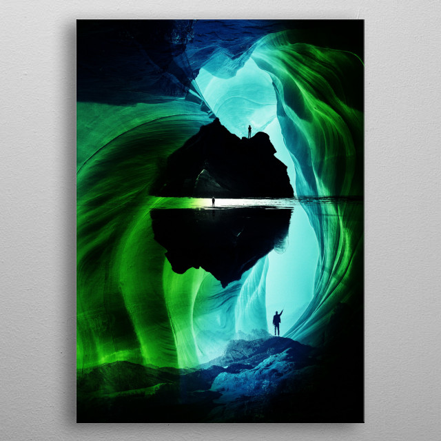Can`n let  go а vision of an abstract blue landscape of a man who can not deal with reality anymore. metal poster