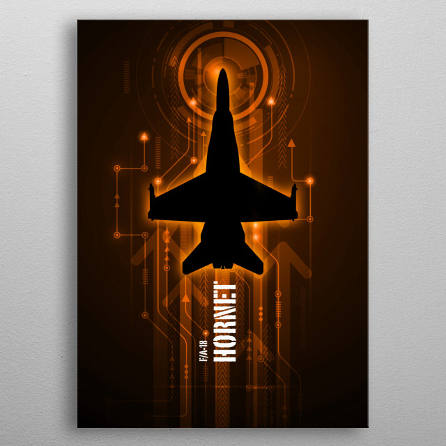FA/18 Hornet digital silhouette metal poster