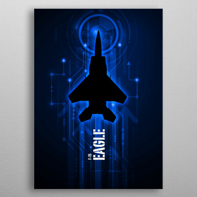 F-15 Eagle Digital Aviation art work metal poster