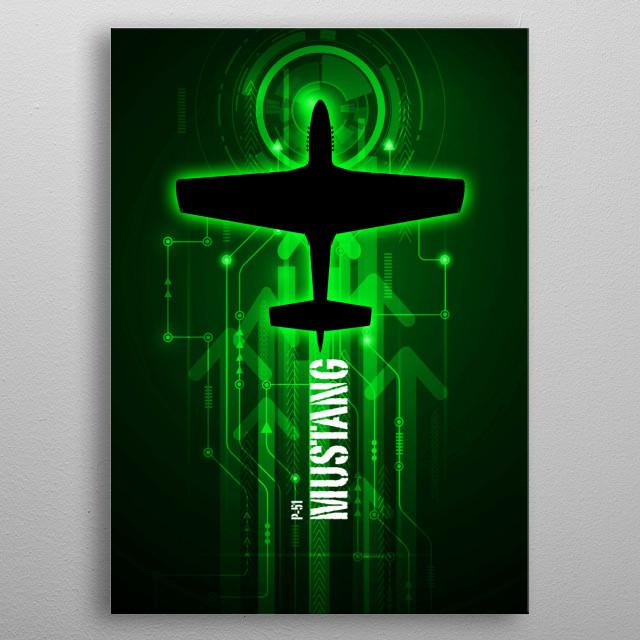 North American P-51 Mustang digital aviation art work metal poster
