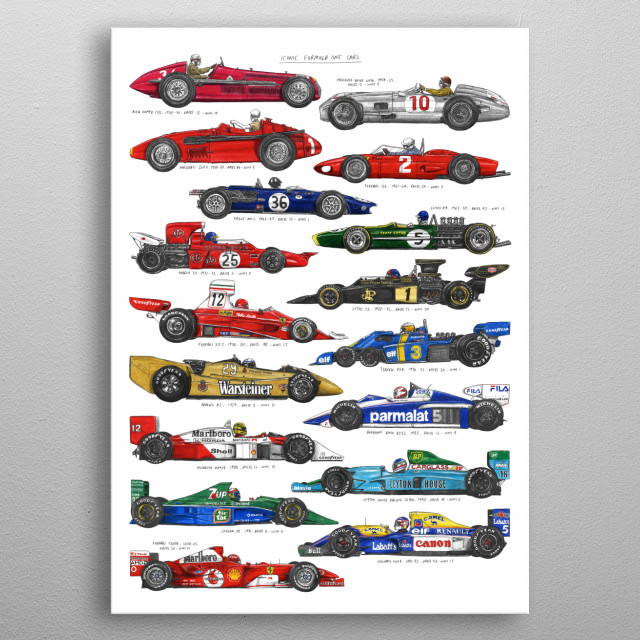 A gallery of the most iconic cars that have raced in Formula 1.  Originally hand drawn in pencil and colouring pencils. metal poster