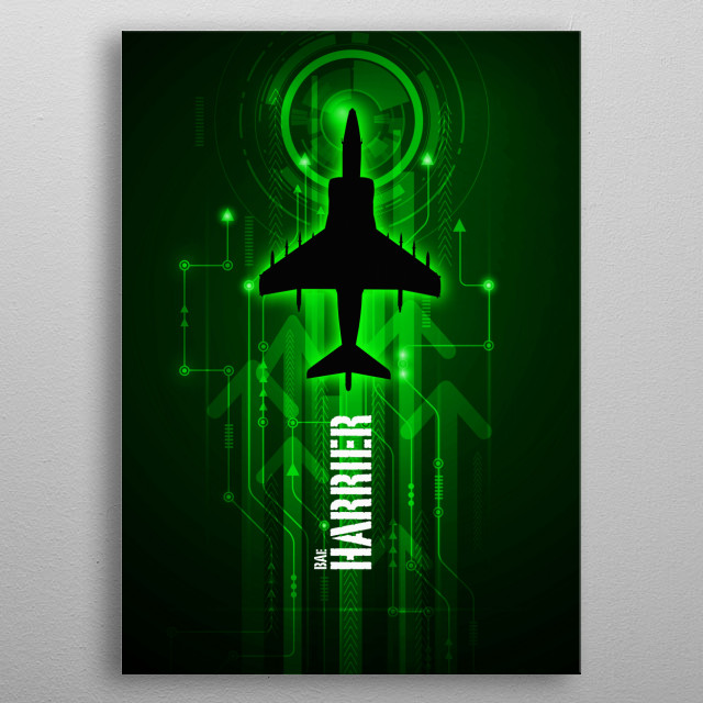 Harrier Jump Jet aviation art work metal poster