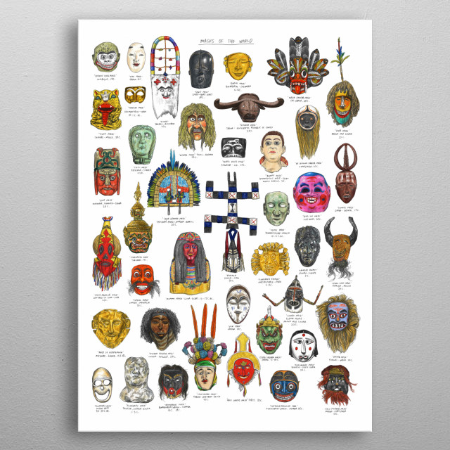 A eclectic selection of masks from around the World.  Originally hand drawn in pencil and colouring pencils. metal poster