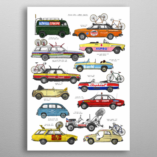 A selection of historic and iconic vehicles of the peloton.  Originally hand drawn using pencil and colouring pencil. metal poster