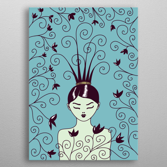 Vector illustration of a girl with closed eyes and strange hairstyle with swirls surrounded by swirling flowers in blue muted tones. metal poster