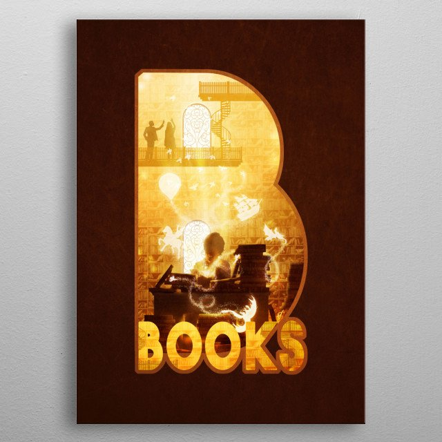B for Books metal poster