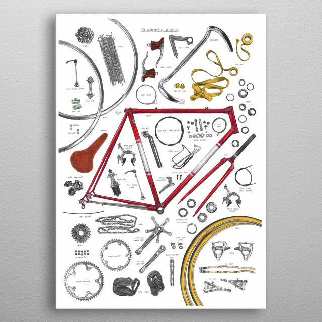 A deconstructed bicycle, all the parts ready to be put back together.  Originally hand drawn in pencil and colouring pencils. metal poster