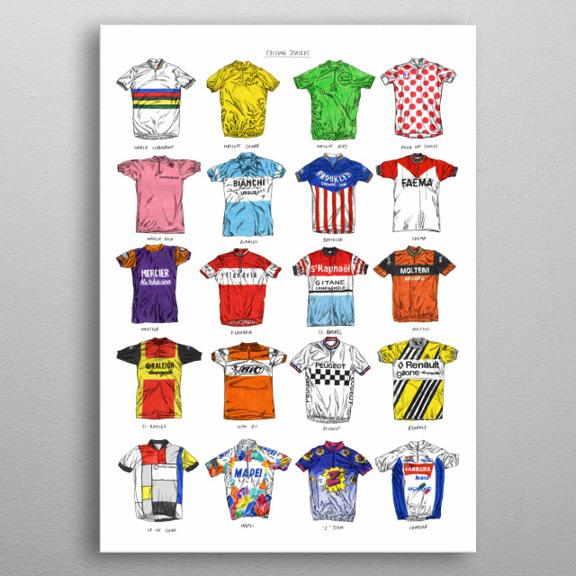 A collection of famous cycling jerseys.  Originally hand drawn in pencil and colouring pencils. metal poster