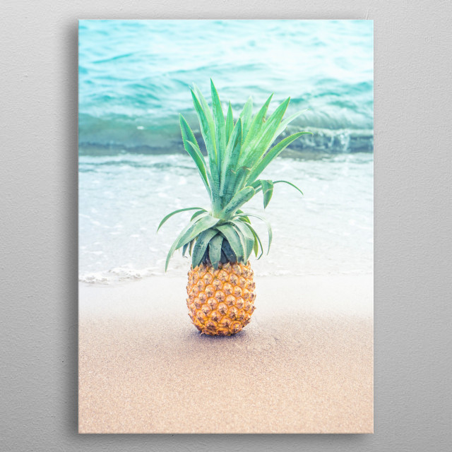 Happy Pineapple at the beach metal poster