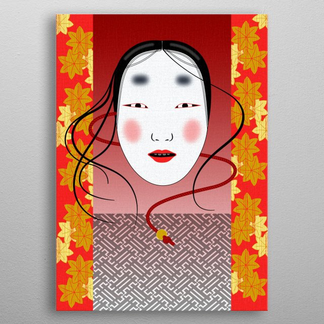 Traditional Noh theatre mask of a woman. All women roles were played by male actors. metal poster