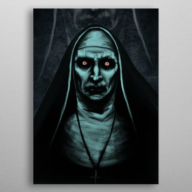The most famous painting of Valak with a background of her close up horrifying mouth! metal poster