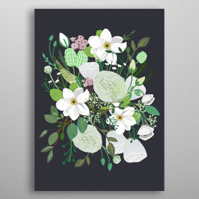 Secret Flower Garden -Night Blossom- The first art work of garden collection metal poster