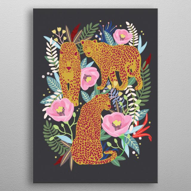 Secret Flower Garden -Leopard Garden- metal poster