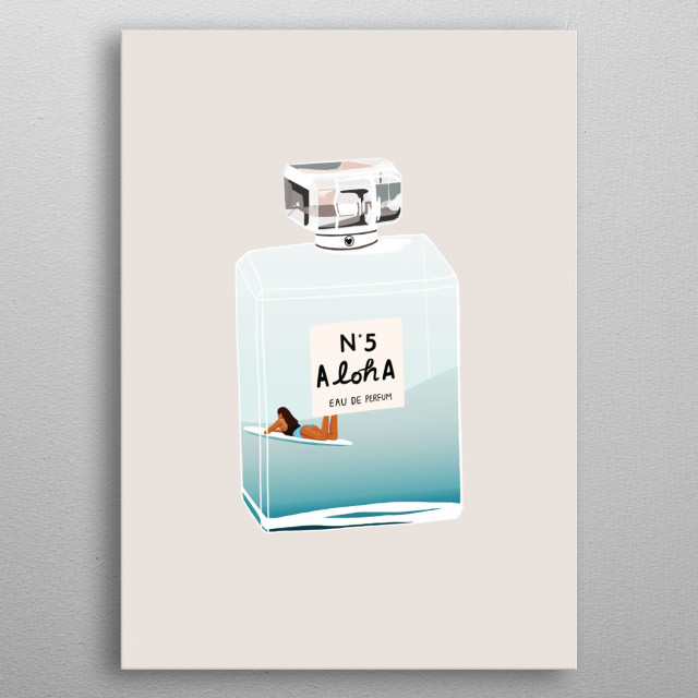 I want to put My memory of surfing in Waikiki Beach and the beautiful smell of the beach and city into my favorite perfume bottle so that I w... metal poster
