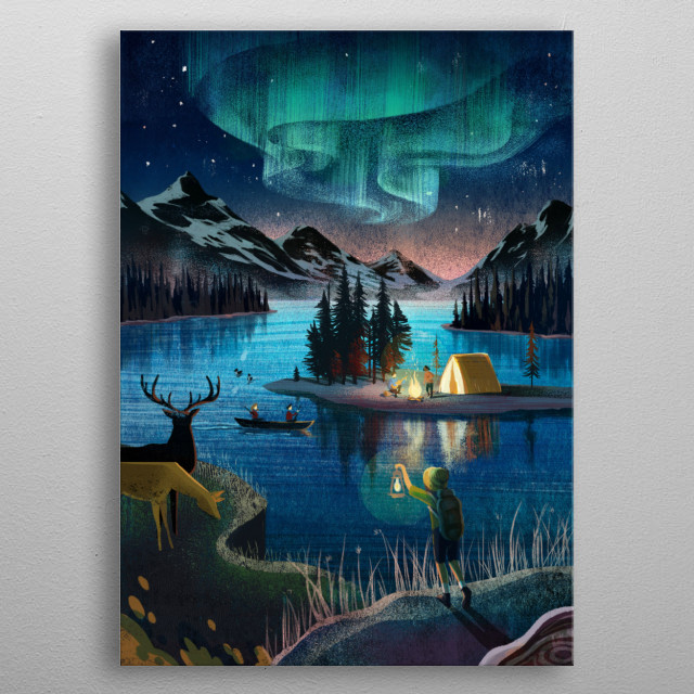 Night of Canadian nature. metal poster