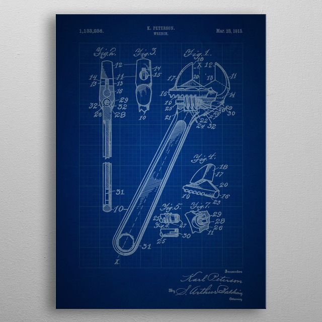 Wrench - Patent #1,133,236 by K. Peterson - 1915 metal poster