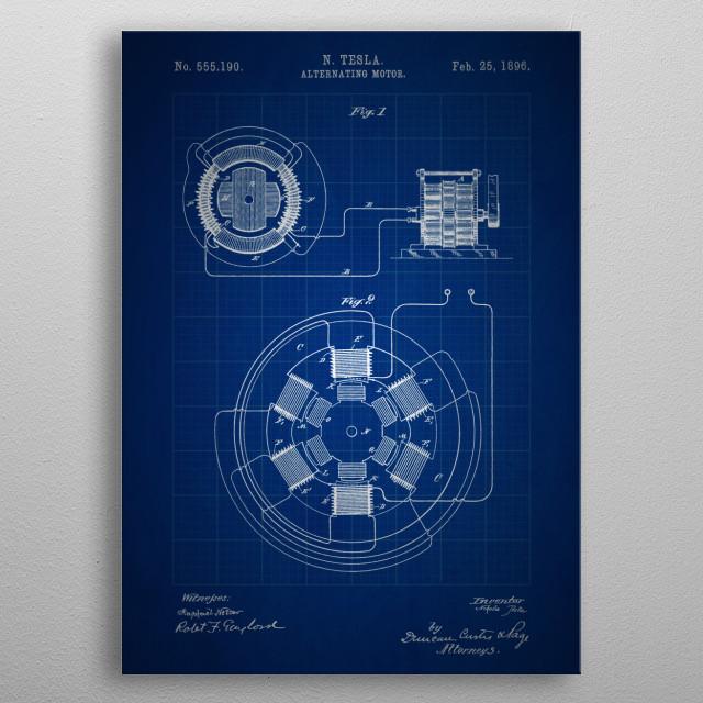 Alternating Motor - Patent #555,190 by Nikola Tesla - 1896 metal poster