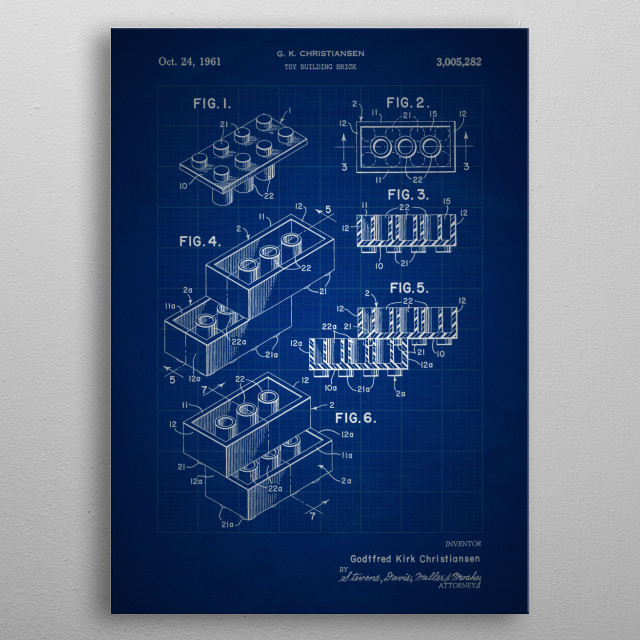 Toy Building Brick (Lego) - Patent #3,005,282 by G. K. Christiansen - 1961 metal poster